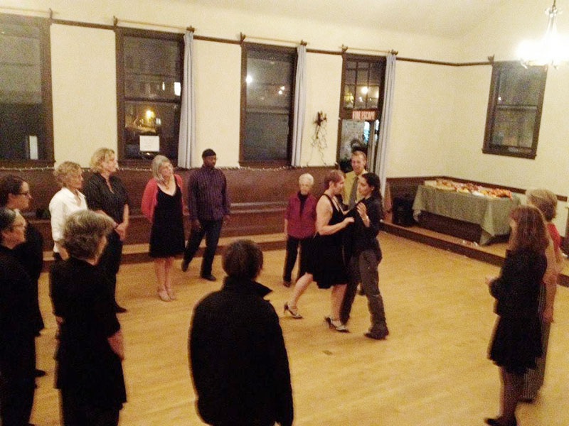 Tango class with Sharna Fabiano at Abrazo Queer Tango milonga.