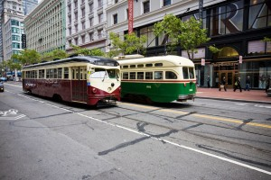 Historic street cars on Market Street