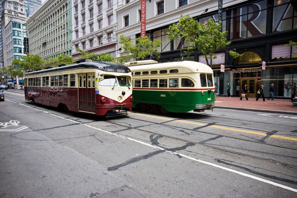 Historic street cars on Market Street Tips