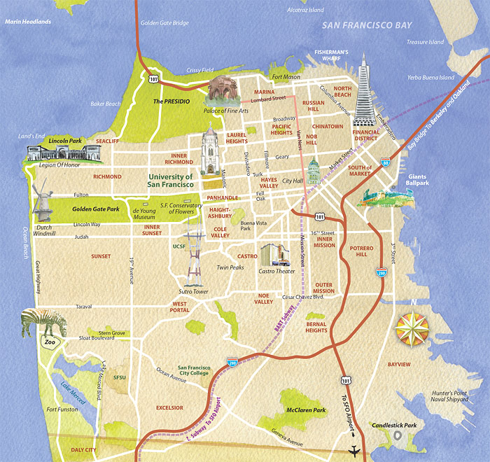 Best Tourist Map Of San Francisco – Top Tourist Attractions Map In San Francisco